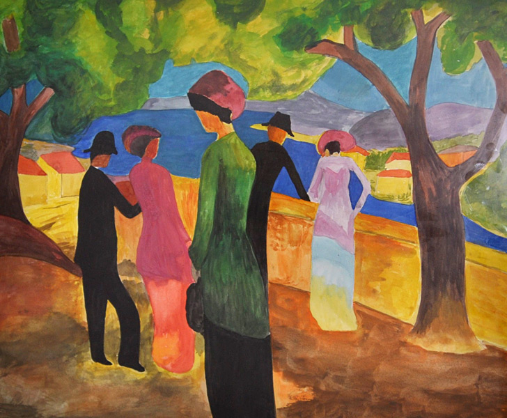 Dame in grüner Jacke (nach Macke), Gemälde