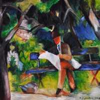 Mann lesend in einem Park (nach Macke)